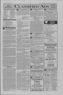 CLASSIFIED ADS - Eagle Lake Headlight