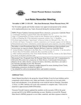 Draft Notes November Meeting - Mount Pleasant Business Association