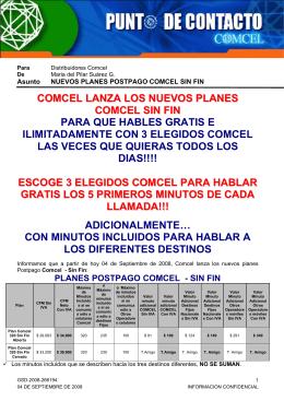 COMCEL LANZA LOS NUEVOS PLANES COMCEL SIN FIN PARA