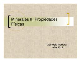 Minerales II: Propiedades Físicas