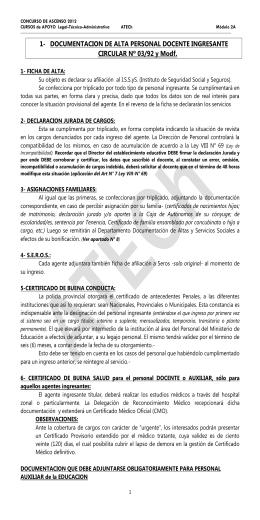 1- DOCUMENTACION DE ALTA PERSONAL DOCENTE