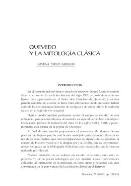 Quevedo y la mitología clásica. Cristina Torres.