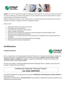 """Certificaciones Certificación Nacional """"Personal Trainer"""