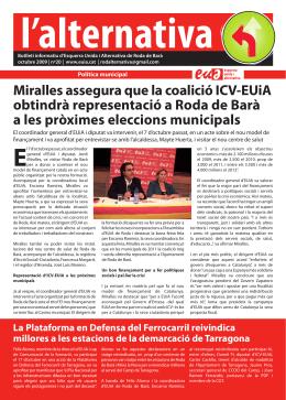 Butlletí d`informació d`EUiA de Roda de Barà.