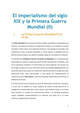 El imperialismo del siglo XIX y la Primera Guerra Mundial (II)
