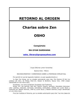RETORNO AL ORIGEN Charlas sobre Zen OSHO