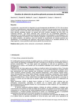 Estudios de obtención de pectina aplicando procesos de membrana