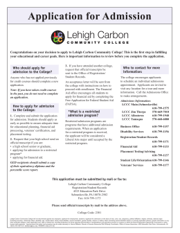 Application for Admission - Lehigh Carbon Community College
