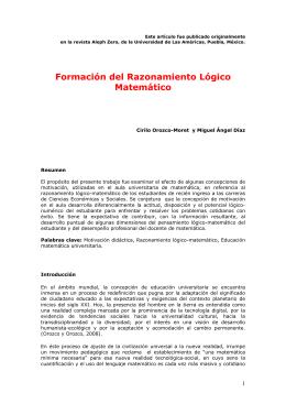 Formación del Razonamiento Lógico Matemático