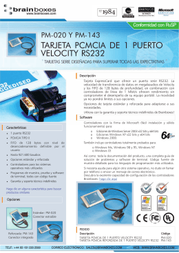 TARJETA PCMCIA DE 1 PUERTO VELOCITY RS232