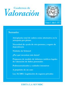 Cuadernos de Valoracion, Tomo I, Año I, nº 1