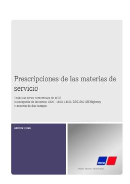 Prescripciones de las materias de servicio