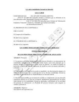 Ley sobre modalidades formativas laborales LEY Nº 28518