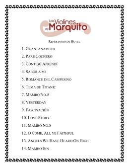 10. LOVE STORY 11. MAMBO NO.8 12. O C 14. MAMBO INN