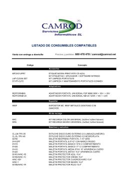 LISTADO DE CONSUMIBLES COMPATIBLES
