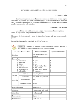 REPASO DE LA GRAMÁTICA BÁSICA DEL INGLÉS