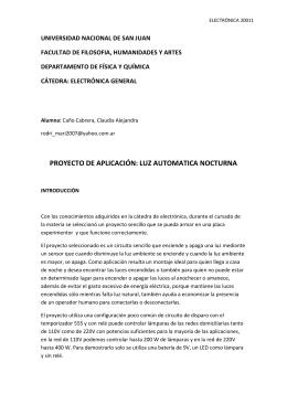 PROYECTO DE APLICACIÓN: LUZ AUTOMATICA NOCTURNA