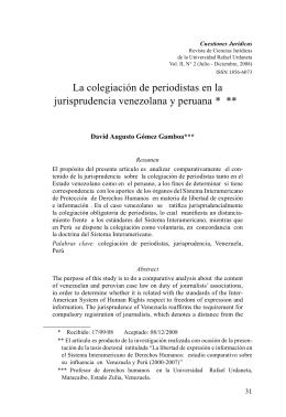 La colegiación de periodistas en la jurisprudencia venezolana y