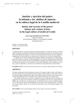 Justicia y ejercicio del poder: la infamia y los «delitos de lujuria» en