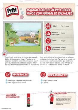 Manualidad de África para niños con animales salvajes