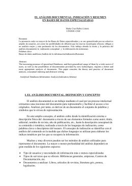EL ANÁLISIS DOCUMENTAL: INDIZACIÓN Y RESUMEN EN - e-Lis