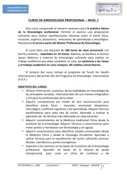 CURSO DE KINESIOLOGÍA PROFESIONAL – NIVEL 1