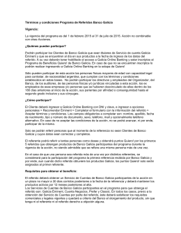 Términos y condiciones Programa de Referidos Banco Galicia