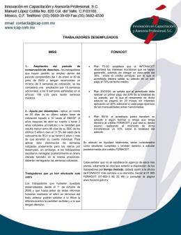 TRABAJADORES DESEMPLEADOS IMSS FONACOT