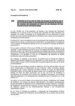 Pag. 32 Viernes, 23 de abril de 2004 NÚM. 96 Consejería