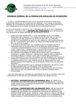 FEDERACIÓN ANDALUZA DE KICK BOXING ASAMBLEA