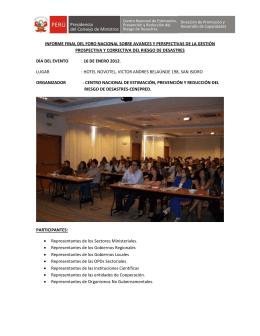 informe final del foro nacional sobre avances y perspectivas de la