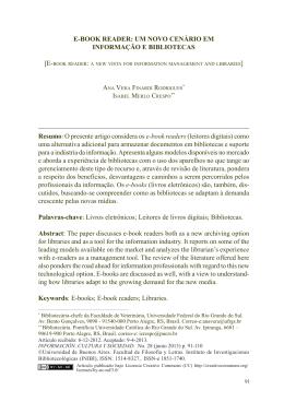 E-book rEadEr: um novo cEnário Em informação E bibliotEcas