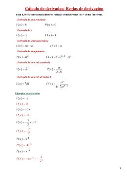 Cálculo de derivadas: Reglas de derivación