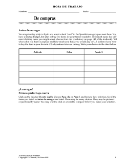 Activity Worksheet  - McGraw