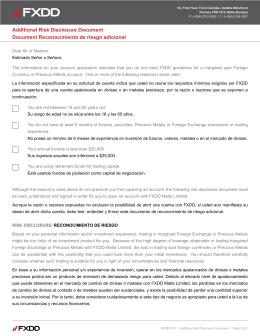 Formulario de declaración de riesgos adicional