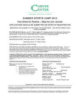 2013 Summer Camp Application