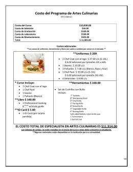 Costo Programa Especialista en Artes Culinarias