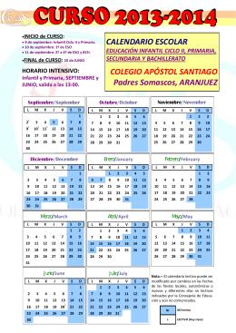 CALENDARIO ESCOLAR COLEGIO APÓSTOL SANTIAGO Padres