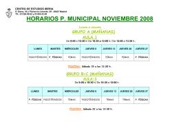 HORARIOS P. MUNICIPAL NOVIEMBRE 2008