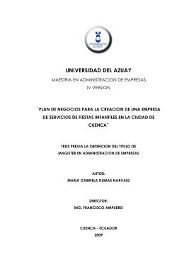 PLAN DE NEGOCIOS - Universidad del Azuay