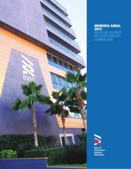 Memorias 2012 - Bolsa de Valores de la República Dominicana