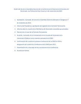 ORDEN DEL DÍA DE LA ASAMBLEA GENERAL DE LA CDED: 1