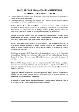 FIRMAN CONVENIO DE CAPACITACIÓN LAS SECRETARÍAS DEL