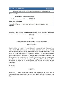 Declara Letra Oficial del Himno Nacional la de José Ma. Zeledón