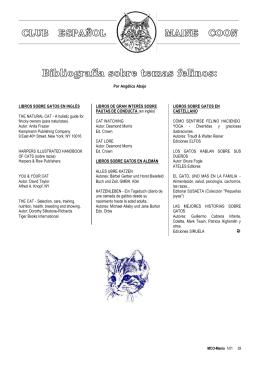 Bibliografía sobre temas felinos: