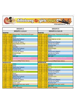 plan siguiente - Billabong Girls Days