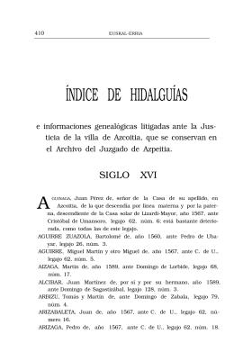 ÍNDICE DE HIDALGUÍAS