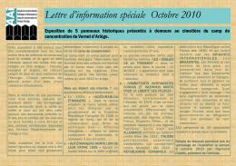Lettre d`information spéciale Octobre 2010