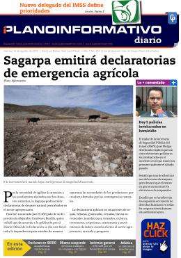 Sagarpa emitirá declaratorias de emergencia