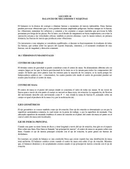 LECCIÓN 10 BALANCEO DE MECANISMOS Y MÁQUINAS El
